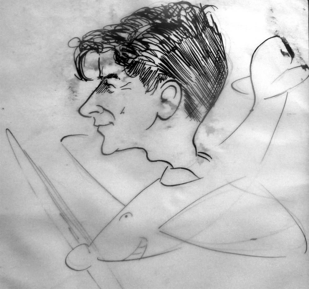 Wartime caricature of Bruce Marsden